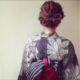 ヘアアレンジ ナチュラル 夏 アップスタイル ヘアスタイルや髪型の写真・画像