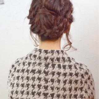 夏 編み込み 結婚式 ヘアアレンジ ヘアスタイルや髪型の写真・画像