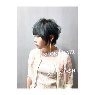 パープル ベージュ ゆるふわ ショート ヘアスタイルや髪型の写真・画像