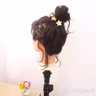 夏 ヘアアレンジ ボブ ヘアピン ヘアスタイルや髪型の写真・画像