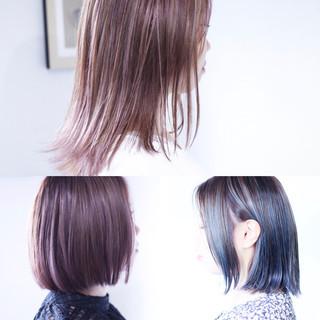 ピンクラベンダー ボブ ラベンダーアッシュ ナチュラル ヘアスタイルや髪型の写真・画像