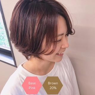 アディクシーカラー サロンモデル フェミニン ベリーピンク ヘアスタイルや髪型の写真・画像