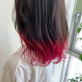 ハデ髪 ストリート 派手髪 レッド ヘアスタイルや髪型の写真・画像