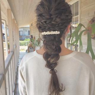 お呼ばれヘア 編みおろし 結婚式 ヘアアレンジ ヘアスタイルや髪型の写真・画像