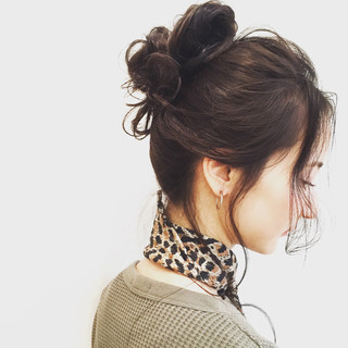 簡単ヘアアレンジ ゆるふわ 暗髪 ショート ヘアスタイルや髪型の写真・画像