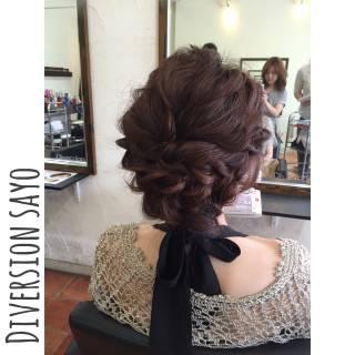 波ウェーブ ヘアアレンジ 編み込み まとめ髪 ヘアスタイルや髪型の写真・画像