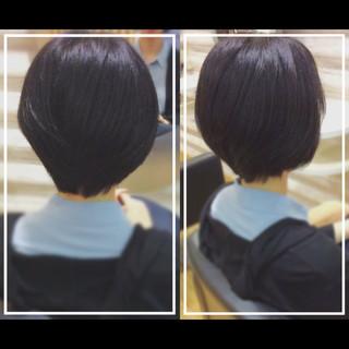 ベリーショート 黒髪 ショート オフィス ヘアスタイルや髪型の写真・画像 ヘアスタイルや髪型の写真・画像
