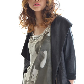 セミロング グラデーションカラー アッシュ モード ヘアスタイルや髪型の写真・画像