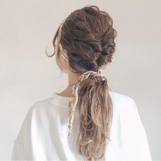 ローポニーテール セルフヘアアレンジ ストリート ヘアアクセ ヘアスタイルや髪型の写真・画像