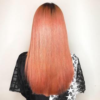 オレンジ ハイトーンカラー ナチュラル ロング ヘアスタイルや髪型の写真・画像