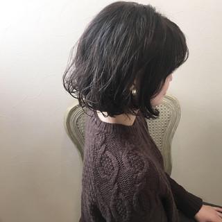 ボブ 冬 ナチュラル パーマ ヘアスタイルや髪型の写真・画像