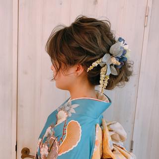 ナチュラル 和装ヘア 外国人風 結婚式ヘアアレンジ ヘアスタイルや髪型の写真・画像