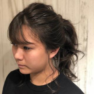 セミロング ナチュラル グレージュ 秋 ヘアスタイルや髪型の写真・画像