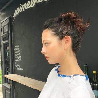 オレンジ デート グラデーションカラー モード ヘアスタイルや髪型の写真・画像