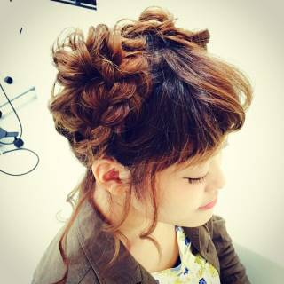 編み込み モテ髪 コンサバ まとめ髪 ヘアスタイルや髪型の写真・画像