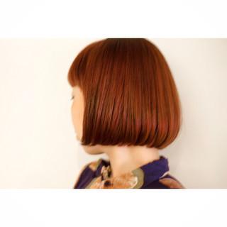 ボブ カッパー 似合わせ イルミナカラー ヘアスタイルや髪型の写真・画像