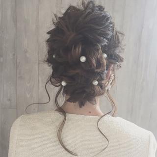 結婚式 セミロング 二次会 大人かわいい ヘアスタイルや髪型の写真・画像