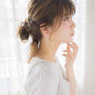ヘアアレンジ 前髪あり ハイライト 簡単ヘアアレンジ ヘアスタイルや髪型の写真・画像