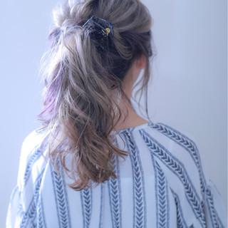 デート ロング 女子会 ダブルカラー ヘアスタイルや髪型の写真・画像