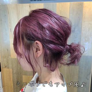 ガーリー ピンク 簡単ヘアアレンジ ヘアアレンジ ヘアスタイルや髪型の写真・画像