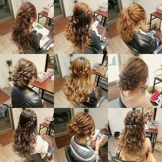 ポニーテール セミロング 編み込み フェミニン ヘアスタイルや髪型の写真・画像