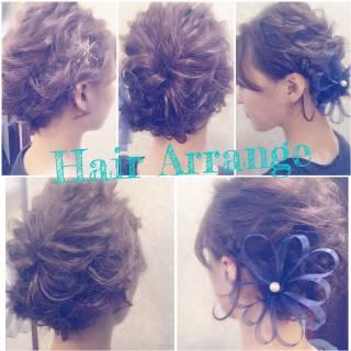 波ウェーブ 簡単ヘアアレンジ くるりんぱ ヘアピン ヘアスタイルや髪型の写真・画像