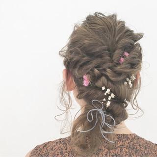 ショート 編み込み ミディアム ハイライト ヘアスタイルや髪型の写真・画像