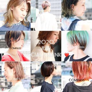 ショートボブ インナーカラー ウルフカット ストリート ヘアスタイルや髪型の写真・画像