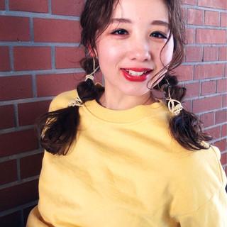 セミロング フェミニン 簡単ヘアアレンジ ヘアアレンジ ヘアスタイルや髪型の写真・画像