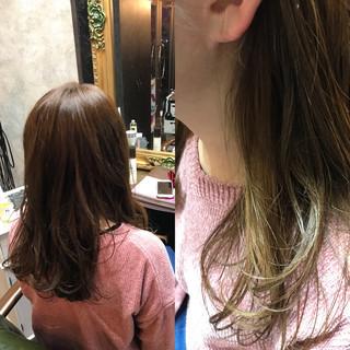 女子会 ミディアム 大人かわいい インナーカラー ヘアスタイルや髪型の写真・画像
