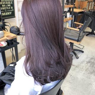 ヘアアレンジ ハイライト セミロング ラベンダーピンク ヘアスタイルや髪型の写真・画像 ヘアスタイルや髪型の写真・画像