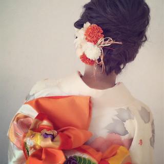 結婚式 ヘアアレンジ 冬 セミロング ヘアスタイルや髪型の写真・画像