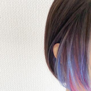 ミニボブ ボブ ユニコーンカラー ショートヘア ヘアスタイルや髪型の写真・画像