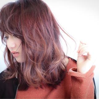 ミディアム フェミニン ハイライト ミルクティー ヘアスタイルや髪型の写真・画像