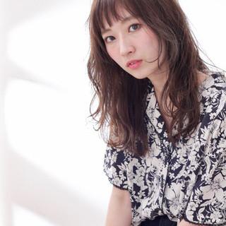 女子会 セミロング 秋 オフィス ヘアスタイルや髪型の写真・画像