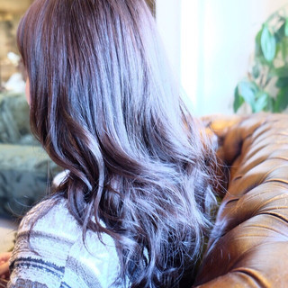 アッシュ ロング ナチュラル ラベンダー ヘアスタイルや髪型の写真・画像