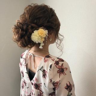 フェミニン 和装 アップスタイル ヘアアレンジ ヘアスタイルや髪型の写真・画像 ヘアスタイルや髪型の写真・画像