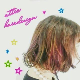 ブリーチ カラーバター カラートリートメント ボブ ヘアスタイルや髪型の写真・画像