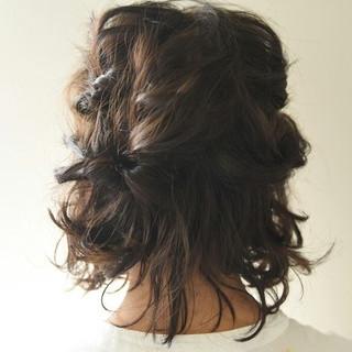 ボブ ハーフアップ 波ウェーブ ガーリー ヘアスタイルや髪型の写真・画像 ヘアスタイルや髪型の写真・画像