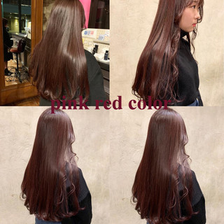 ロング アプリコットオレンジ レッドブラウン ガーリー ヘアスタイルや髪型の写真・画像