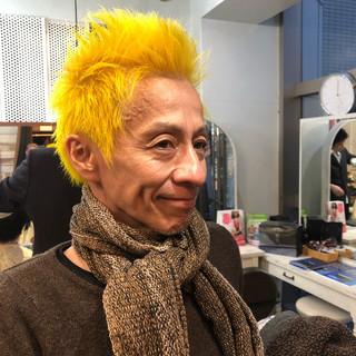 ロック メンズカラー メンズスタイル イエロー ヘアスタイルや髪型の写真・画像