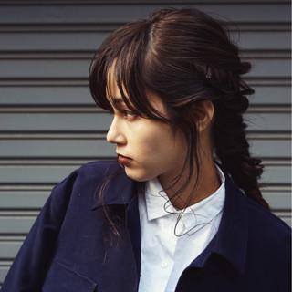 暗髪 ロング ヘアアレンジ 前髪あり ヘアスタイルや髪型の写真・画像