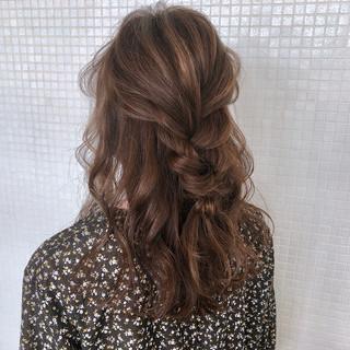 ロング くるりんぱ 三つ編み ヘアアレンジ ヘアスタイルや髪型の写真・画像