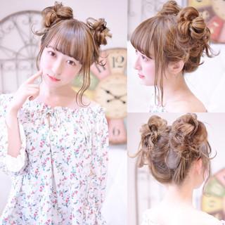 シースルーバング ヘアアレンジ 前髪パッツン デート ヘアスタイルや髪型の写真・画像