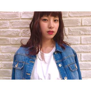 パーマ ミディアム 外国人風 ブラウン ヘアスタイルや髪型の写真・画像