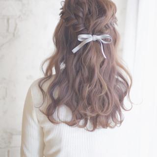 結婚式 ショート 簡単ヘアアレンジ セミロング ヘアスタイルや髪型の写真・画像