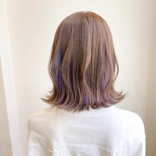切りっぱなしボブ フェミニン ミルクティーグレージュ ボブ ヘアスタイルや髪型の写真・画像