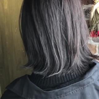 アッシュグレー 切りっぱなしボブ 外国人風カラー ミディアム ヘアスタイルや髪型の写真・画像