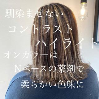 コントラストハイライト セミロング 3Dハイライト エレガント ヘアスタイルや髪型の写真・画像