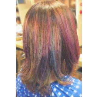 ミディアム ダブルカラー グラデーションカラー ゆるふわ ヘアスタイルや髪型の写真・画像